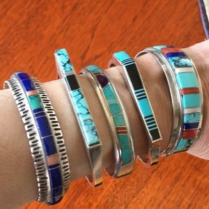 "Native American Inlay bracelets 6 1/4"" and 6 1/2"""